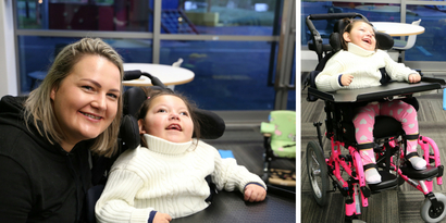 Thanks to many generous donors, Kareena now has her wheelchair